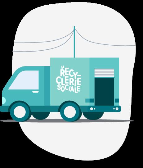 Camion de la Recyclerie Sociale de Saint-Gilles